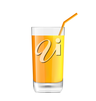 Illustration Orange Juice in Glass with Bend Straw, Isolated on White Background, Realistic Beverage - Vector