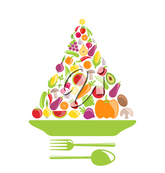 Illustration Pyramid of Vegetables and Fruits, Colorful Healthy Foods - Vector