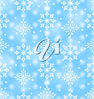 Illustration Seamless Pattern with Beautiful Snowflakes, Winter Background - Vector
