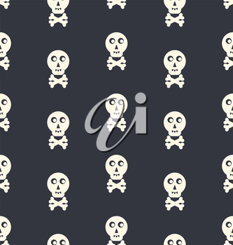 Seamless Pattern Skull White on Black Backdrop - vector