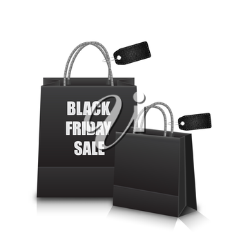 Illustration Sale Shopping Bags with Discount for Black Friday Sales - Vector