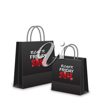 Illustration Shopping Paper Bags for Black Friday Sales, Isolated on White Background - Vector