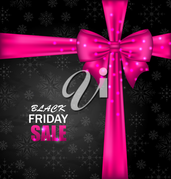 Illustration Snowflakes Dark Background with Bow Ribbon for Black Friday Sales - Vector