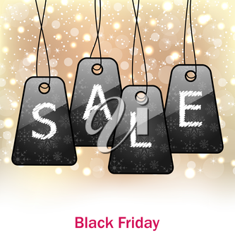 Illustration Abstract Set Labels on Glitter Background for Black Friday Sales - Vector