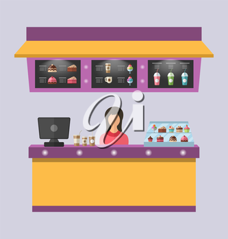 Illustration Sweet Shop with Cakes, Ice Creams, Muffins, Milkshakes, Coffee. Cashier Female - Vector
