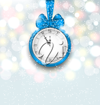 Illustration New Year Midnight Shimmering Background with Clock - Vector