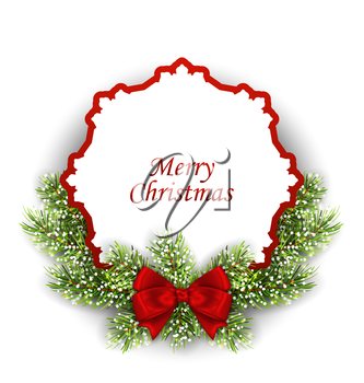Illustration Merry Christmas Greeting Card with Fir Twigs and Bow, Isolated on White Background - Vector