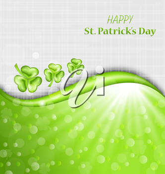 Illustration Abstract Glowing Background with Green Trefoils for St. Patrick Day - Vector