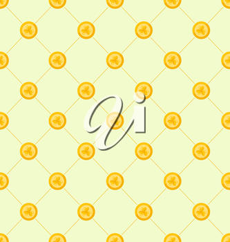 Illustration Seamless Simple Pattern with Golden Coins for St. Patricks Day, Ireland Background with Treasure - Vector