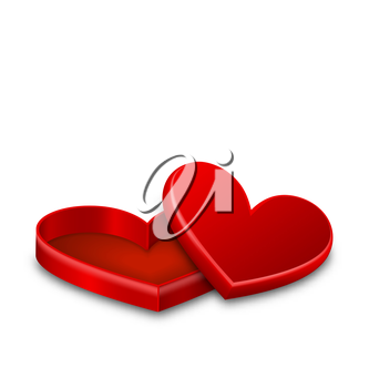 Illustration Open Red Gift Box in Heart Shaped Isolated on White Background for Valentines Day - Vector