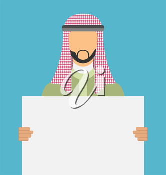 Illustration Arabic Man Holding a Blank Horizontal Banner, Copy Space for Your Text on Poster - Vector