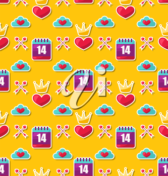 Illustration Seamless Background with Traditional Objects and Elements for Valentines Day - Vector