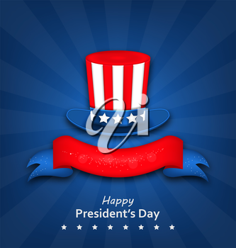 Illustration Abstract Flyer with Uncle Sam's Hat for Happy Presidents Day of USA - Vector