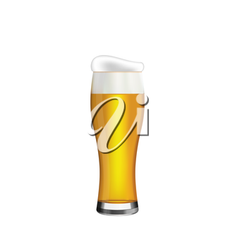 Illustration Glass of Beer Isolated on White Background - Vector
