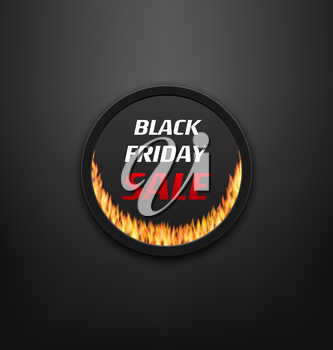Illustration Round Frame or Web Button with Fire Flame for Black Friday Sale, Black Background - Vector