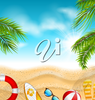 Beautiful Banner with Palm Leaves, Beach Ball, Flip-flops, Surf Board, Sunglasses, Sand Texture, Sea. Summer, Travel, Journey - Illustration Vector