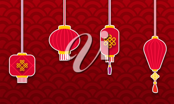 Set Chinese Lanterns for Happy New Year. Eastern Background - Illustration Vector