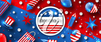 American Background for USA Independence Day Celebration. 4 th of July Advertise - Illustration Vector