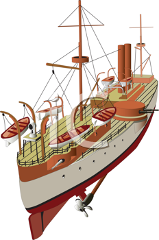Royalty Free Clipart Image of a Warship
