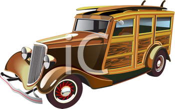 Royalty Free Clipart Image of an Old Car
