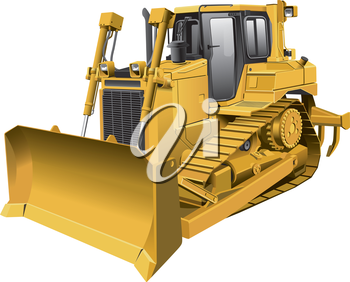 Detailed vector image of large light-brown tracklaying dozer, isolated on white background. File contains gradients. No blends and strokes.