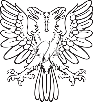 Vectorial pictogram of most heraldic monster - eagle, executed in style of gravure on wood. No dlends, gradients and strokes.