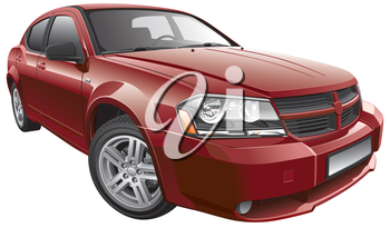 High quality photorealistic illustration of American mid-size car, isolated on white background.