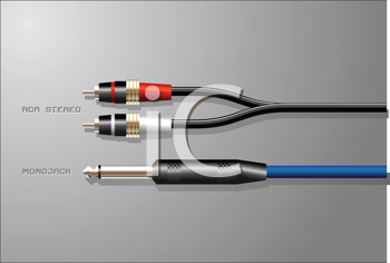 Royalty Free Clipart Image of Audio Cables and Jacks
