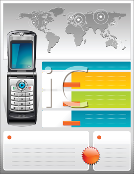 Royalty Free Clipart Image of a Cellphone Telecom Communication Provider Flyer