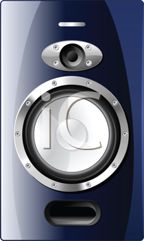 Royalty Free Clipart Image of a Blue Acoustic Loudspeaker