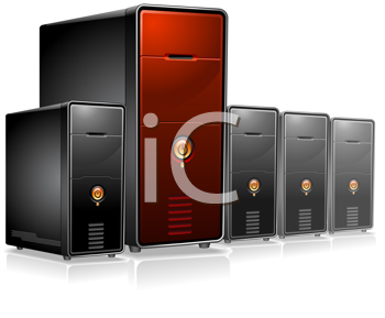 Royalty Free Clipart Image of Computer Servers