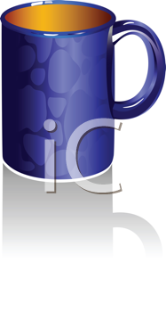 Royalty Free Clipart Image of  a Blue Coffee Cup