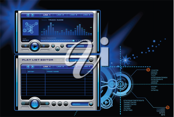 Royalty Free Clipart Image of an Mp3 Media Music Stereo Computer Playerbackground