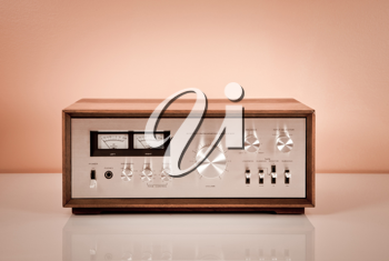 Royalty Free Photo of a Vintage Stereo in a Wooden Cabinet