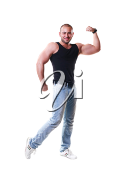 strong man showing his muscles with white background