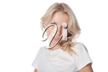 pretty blond women face and shoulders shot on white