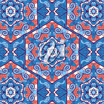 hexagonal oriental seamless ornament, in blue and orange color