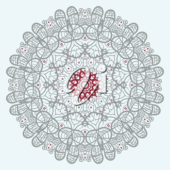 Mandala Print. Red and Gray color mandla flower in the center of square tile