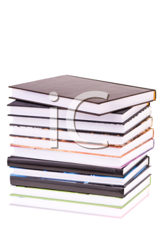 stack books isolated on white background