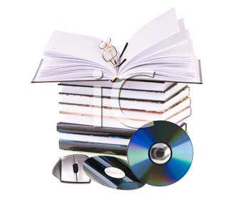 Royalty Free Photo of a Stack of Books and Computer Mouse