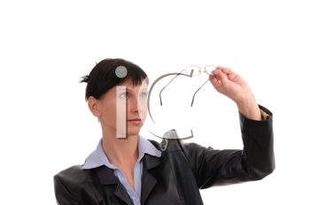 Royalty Free Photo of a Businesswoman Looking at Her Glasses
