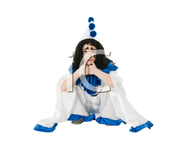 child in costume Pierrot  isolated on white background