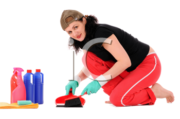 The woman makes cleaning isolated on white background