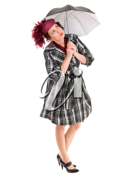 woman with black umbrella isolated on white background