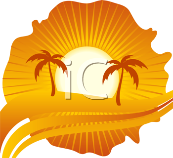 Royalty Free Clipart Image of a Tropical Island