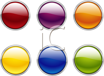 Royalty Free Clipart Image of a Set of Buttons