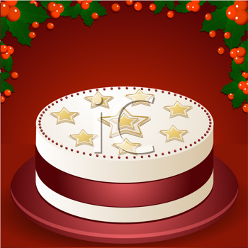 Royalty Free Clipart Image of a Christmas Cake With Holly Border