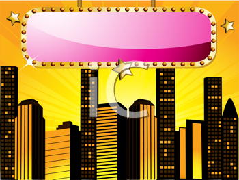 Royalty Free Clipart Image of a Sign in Front of a Sunset City Skyline