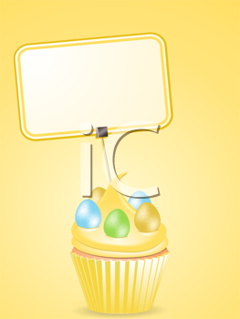Royalty Free Clipart Image of a Cupcake With Easter Eggs
