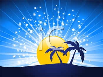 Royalty Free Clipart Image of Palm Trees Silhouettes